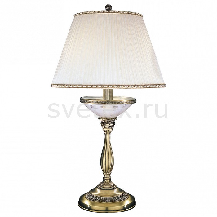 Настольная лампа Reccagni AngeloСветильники<br>Артикул - RA_P_4660_G,Бренд - Reccagni Angelo (Италия),Коллекция - 4660,Гарантия, месяцы - 24,Высота, мм - 600,Диаметр, мм - 350,Тип лампы - компактная люминесцентная [КЛЛ] ИЛИнакаливания ИЛИсветодиодная [LED],Общее кол-во ламп - 2,Напряжение питания лампы, В - 220,Максимальная мощность лампы, Вт - 60,Лампы в комплекте - отсутствуют,Цвет плафонов и подвесок - белый с каймой,Тип поверхности плафонов - матовый,Материал плафонов и подвесок - текстиль,Цвет арматуры - белый с рисунком, бронза состаренная,Тип поверхности арматуры - матовый, рельефный,Материал арматуры - латунь, стекло,Количество плафонов - 1,Наличие выключателя, диммера или пульта ДУ - выключатель на проводе,Компоненты, входящие в комплект - провод электропитания с вилкой без заземления,Тип цоколя лампы - E27,Класс электробезопасности - II,Общая мощность, Вт - 120,Степень пылевлагозащиты, IP - 20,Диапазон рабочих температур - комнатная температура<br>