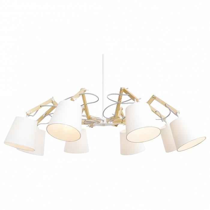 Подвесная люстра Arte LampСветильники<br>Артикул - AR_A5700LM-8WH,Бренд - Arte Lamp (Италия),Коллекция - Pinocchio,Время изготовления, дней - 1,Высота, мм - 560-1200,Диаметр, мм - 950,Тип лампы - компактная люминесцентная [КЛЛ] ИЛИнакаливания ИЛИсветодиодная [LED],Общее кол-во ламп - 8,Напряжение питания лампы, В - 220,Максимальная мощность лампы, Вт - 40,Лампы в комплекте - отсутствуют,Цвет плафонов и подвесок - белый,Тип поверхности плафонов - матовый,Материал плафонов и подвесок - текстиль,Цвет арматуры - бежевый, белый,Тип поверхности арматуры - глянцевый, матовый,Материал арматуры - МДФ, металл,Количество плафонов - 8,Возможность подлючения диммера - можно, если установить лампу накаливания,Тип цоколя лампы - E14,Класс электробезопасности - I,Общая мощность, Вт - 320,Степень пылевлагозащиты, IP - 20,Диапазон рабочих температур - комнатная температура,Дополнительные параметры - способ крепления светильника к потолку – на монтажной пластине<br>