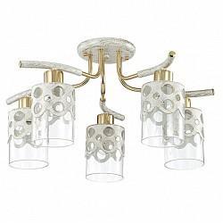Потолочная люстра LumionМеталлические плафоны<br>Артикул - LMN_3271_5C,Бренд - Lumion (Италия),Коллекция - Colett,Гарантия, месяцы - 24,Высота, мм - 290,Диаметр, мм - 560,Размер упаковки, мм - 170x620x260,Тип лампы - компактная люминесцентная [КЛЛ] ИЛИнакаливания ИЛИсветодиодная [LED],Общее кол-во ламп - 5,Напряжение питания лампы, В - 220,Максимальная мощность лампы, Вт - 60,Лампы в комплекте - отсутствуют,Цвет плафонов и подвесок - неокрашенный, белый с золотой патиной,Тип поверхности плафонов - матовый, прозрачный,Материал плафонов и подвесок - металл, стекло,Цвет арматуры - белый с золотой патиной, золото,Тип поверхности арматуры - матовый,Материал арматуры - металл,Возможность подлючения диммера - можно, если установить лампу накаливания,Тип цоколя лампы - E14,Класс электробезопасности - I,Общая мощность, Вт - 300,Степень пылевлагозащиты, IP - 20,Диапазон рабочих температур - комнатная температура,Дополнительные параметры - способ крепления к потолку - на монтажной пластине<br>