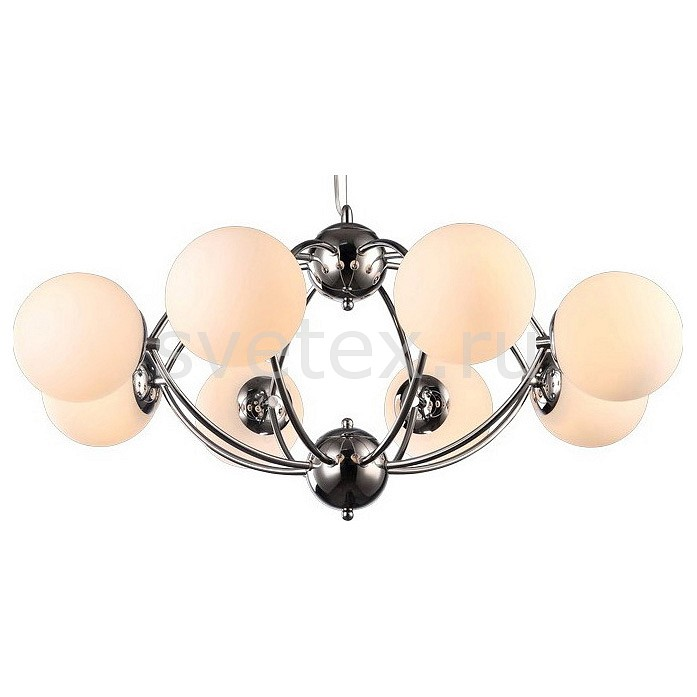 Подвесная люстра Arte LampЛюстры<br>Артикул - AR_A9432SP-8CC,Бренд - Arte Lamp (Италия),Коллекция - Palla,Гарантия, месяцы - 24,Время изготовления, дней - 1,Высота, мм - 400-1400,Диаметр, мм - 830,Тип лампы - компактная люминесцентная [КЛЛ] ИЛИнакаливания ИЛИсветодиодная [LED],Общее кол-во ламп - 8,Напряжение питания лампы, В - 220,Максимальная мощность лампы, Вт - 40,Лампы в комплекте - отсутствуют,Цвет плафонов и подвесок - белый,Тип поверхности плафонов - матовый,Материал плафонов и подвесок - стекло,Цвет арматуры - хром,Тип поверхности арматуры - глянцевый,Материал арматуры - металл,Количество плафонов - 8,Возможность подлючения диммера - можно, если установить лампу накаливания,Тип цоколя лампы - E27,Класс электробезопасности - I,Общая мощность, Вт - 320,Степень пылевлагозащиты, IP - 20,Диапазон рабочих температур - комнатная температура,Дополнительные параметры - регулируется по высоте,  способ крепления светильника к потолку – на монтажной пластине<br>