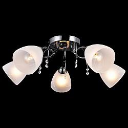 Потолочная люстра Оптима5 или 6 ламп<br>Артикул - EV_76489,Бренд - Оптима (Китай),Коллекция - Камелия,Гарантия, месяцы - 24,Высота, мм - 220,Диаметр, мм - 620,Тип лампы - компактная люминесцентная [КЛЛ] ИЛИнакаливания ИЛИсветодиодная [LED],Общее кол-во ламп - 5,Напряжение питания лампы, В - 220,Максимальная мощность лампы, Вт - 60,Лампы в комплекте - отсутствуют,Цвет плафонов и подвесок - белый с рисунком, неокрашенный,Тип поверхности плафонов - матовый, прозрачный,Материал плафонов и подвесок - стекло, хрусталь,Цвет арматуры - черный жемчуг,Тип поверхности арматуры - глянцевый,Материал арматуры - металл,Возможность подлючения диммера - можно, если установить лампу накаливания,Тип цоколя лампы - E14,Класс электробезопасности - I,Общая мощность, Вт - 300,Степень пылевлагозащиты, IP - 20,Диапазон рабочих температур - комнатная температура,Дополнительные параметры - способ крепления светильника к потолку - на монтажной пластине<br>