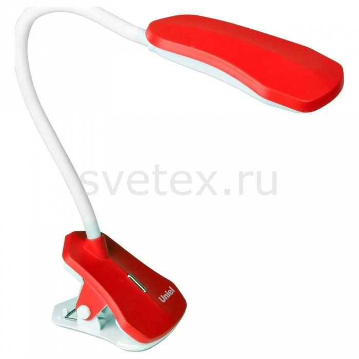 Настольная лампа UnielНа прищепке<br>Артикул - UL_09102,Бренд - Uniel (Китай),Коллекция - LED Premium,Гарантия, месяцы - 24,Размер упаковки, мм - 270x145x95,Тип лампы - светодиодная [LED],Общее кол-во ламп - 1,Максимальная мощность лампы, Вт - 4,Цвет лампы - белый холодный,Лампы в комплекте - светодиодная (LED),Цвет плафонов и подвесок - белый, красный,Тип поверхности плафонов - матовый,Материал плафонов и подвесок - полимер,Цвет арматуры - белый, красный,Тип поверхности арматуры - матовый,Материал арматуры - металл, полимер,Количество плафонов - 1,Наличие выключателя, диммера или пульта ДУ - выключатель,Компоненты, входящие в комплект - провод электропитания с вилкой без заземления,Цветовая температура, K - 4500 K,Световой поток, лм - 360,Экономичнее лампы накаливания - в 9.8 раза,Светоотдача, лм/Вт - 90,Ресурс лампы - 30 тыс. часов,Класс электробезопасности - II,Напряжение питания, В - 220,Степень пылевлагозащиты, IP - 20,Диапазон рабочих температур - комнатная температура,Дополнительные параметры - поворотный светильник, светильник на прищепке<br>