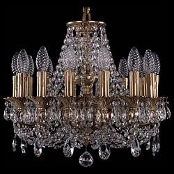 Подвесная люстра Bohemia Ivele CrystalБолее 6 ламп<br>Артикул - BI_1707_14_125_C_FP,Бренд - Bohemia Ivele Crystal (Чехия),Коллекция - 1707,Гарантия, месяцы - 24,Высота, мм - 500,Диаметр, мм - 480,Размер упаковки, мм - 450x450x200,Тип лампы - компактная люминесцентная [КЛЛ] ИЛИнакаливания ИЛИсветодиодная [LED],Общее кол-во ламп - 14,Напряжение питания лампы, В - 220,Максимальная мощность лампы, Вт - 40,Лампы в комплекте - отсутствуют,Цвет плафонов и подвесок - неокрашенный,Тип поверхности плафонов - прозрачный,Материал плафонов и подвесок - хрусталь,Цвет арматуры - золото французское с патиной,Тип поверхности арматуры - глянцевый, рельефный,Материал арматуры - латунь,Возможность подлючения диммера - можно, если установить лампу накаливания,Форма и тип колбы - свеча ИЛИ свеча на ветру,Тип цоколя лампы - E14,Класс электробезопасности - I,Общая мощность, Вт - 560,Степень пылевлагозащиты, IP - 20,Диапазон рабочих температур - комнатная температура,Дополнительные параметры - способ крепления светильника к потолку - на крюке, указана высота светильника без подвеса<br>