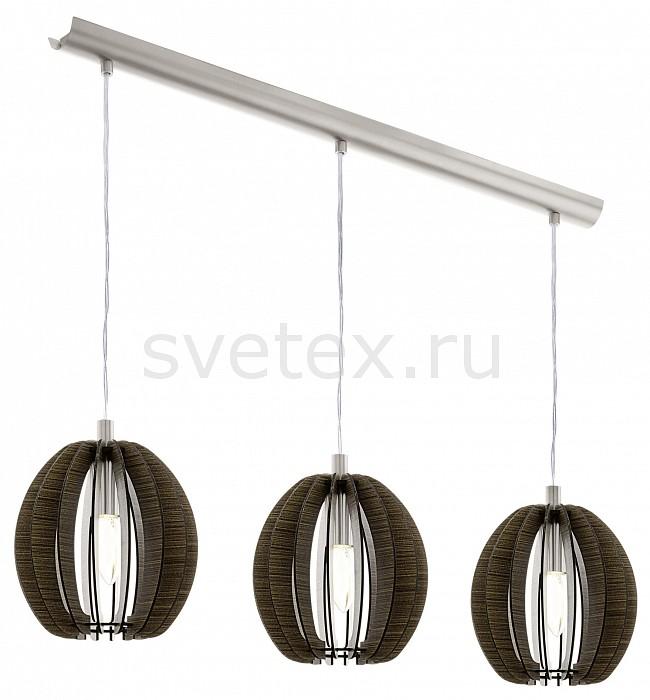 Подвесной светильник EgloДеревянные<br>Артикул - EG_94641,Бренд - Eglo (Австрия),Коллекция - Cossano,Гарантия, месяцы - 24,Длина, мм - 790,Ширина, мм - 190,Высота, мм - 1100,Тип лампы - компактная люминесцентная [КЛЛ] ИЛИнакаливания ИЛИсветодиодная [LED],Общее кол-во ламп - 3,Напряжение питания лампы, В - 220,Максимальная мощность лампы, Вт - 40,Лампы в комплекте - отсутствуют,Цвет плафонов и подвесок - темно-коричневый,Тип поверхности плафонов - матовый,Материал плафонов и подвесок - дерево,Цвет арматуры - никель,Тип поверхности арматуры - матовый,Материал арматуры - сталь,Количество плафонов - 3,Возможность подлючения диммера - можно, если установить лампу накаливания,Тип цоколя лампы - E14,Класс электробезопасности - II,Общая мощность, Вт - 120,Степень пылевлагозащиты, IP - 20,Диапазон рабочих температур - комнатная температура,Дополнительные параметры - способ крепления светильника к потолку - на монтажной пластине<br>