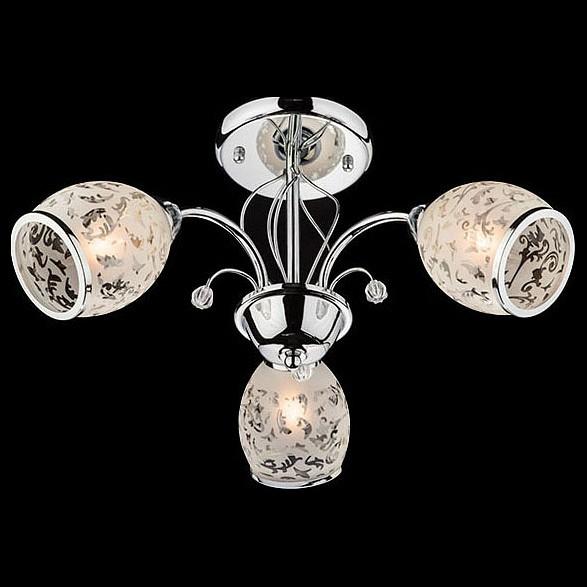 Люстра на штанге ОптимаЛюстры<br>Артикул - EV_73708,Бренд - Оптима (Китай),Коллекция - 30026,Гарантия, месяцы - 24,Высота, мм - 270,Диаметр, мм - 490,Тип лампы - компактная люминесцентная [КЛЛ] ИЛИнакаливания ИЛИсветодиодная [LED],Общее кол-во ламп - 3,Напряжение питания лампы, В - 220,Максимальная мощность лампы, Вт - 60,Лампы в комплекте - отсутствуют,Цвет плафонов и подвесок - белый с рисунком и с каймой, неокрашенный,Тип поверхности плафонов - матовый, прозрачный,Материал плафонов и подвесок - стекло, хрусталь,Цвет арматуры - хром,Тип поверхности арматуры - глянцевый,Материал арматуры - металл,Количество плафонов - 3,Возможность подлючения диммера - можно, если установить лампу накаливания,Тип цоколя лампы - E27,Класс электробезопасности - I,Общая мощность, Вт - 180,Степень пылевлагозащиты, IP - 20,Диапазон рабочих температур - комнатная температура,Дополнительные параметры - способ крепления светильника к потолку - на монтажной пластине<br>