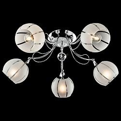 Потолочная люстра Eurosvet5 или 6 ламп<br>Артикул - EV_73048,Бренд - Eurosvet (Китай),Коллекция - 30021,Гарантия, месяцы - 24,Высота, мм - 200,Диаметр, мм - 590,Тип лампы - компактная люминесцентная [КЛЛ] ИЛИнакаливания ИЛИсветодиодная [LED],Общее кол-во ламп - 5,Напряжение питания лампы, В - 220,Максимальная мощность лампы, Вт - 60,Лампы в комплекте - отсутствуют,Цвет плафонов и подвесок - белый полосатый,Тип поверхности плафонов - матовый,Материал плафонов и подвесок - стекло,Цвет арматуры - хром,Тип поверхности арматуры - глянцевый,Материал арматуры - металл,Возможность подлючения диммера - можно, если установить лампу накаливания,Тип цоколя лампы - E14,Класс электробезопасности - I,Общая мощность, Вт - 300,Степень пылевлагозащиты, IP - 20,Диапазон рабочих температур - комнатная температура,Дополнительные параметры - способ крепления светильника к потолку - на монтажной пластине<br>