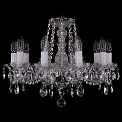 Подвесная люстра Bohemia Ivele CrystalБолее 6 ламп<br>Артикул - BI_1402_10_160_Ni,Бренд - Bohemia Ivele Crystal (Чехия),Коллекция - 1402,Гарантия, месяцы - 24,Высота, мм - 410,Диаметр, мм - 510,Размер упаковки, мм - 510x510x200,Тип лампы - компактная люминесцентная [КЛЛ] ИЛИнакаливания ИЛИсветодиодная [LED],Общее кол-во ламп - 10,Напряжение питания лампы, В - 220,Максимальная мощность лампы, Вт - 40,Лампы в комплекте - отсутствуют,Цвет плафонов и подвесок - неокрашенный,Тип поверхности плафонов - прозрачный,Материал плафонов и подвесок - хрусталь,Цвет арматуры - неокрашенный, никель,Тип поверхности арматуры - глянцевый, прозрачный,Материал арматуры - металл, стекло,Возможность подлючения диммера - можно, если установить лампу накаливания,Форма и тип колбы - свеча,Тип цоколя лампы - E14,Класс электробезопасности - I,Общая мощность, Вт - 400,Степень пылевлагозащиты, IP - 20,Диапазон рабочих температур - комнатная температура,Дополнительные параметры - способ крепления светильника к потолку – на крюке<br>