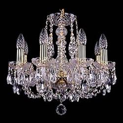 Подвесная люстра Bohemia Ivele CrystalБолее 6 ламп<br>Артикул - BI_1406_8_141_G,Бренд - Bohemia Ivele Crystal (Чехия),Коллекция - 1406,Гарантия, месяцы - 24,Высота, мм - 410,Диаметр, мм - 460,Размер упаковки, мм - 450x450x200,Тип лампы - компактная люминесцентная [КЛЛ] ИЛИнакаливания ИЛИсветодиодная [LED],Общее кол-во ламп - 8,Напряжение питания лампы, В - 220,Максимальная мощность лампы, Вт - 40,Лампы в комплекте - отсутствуют,Цвет плафонов и подвесок - неокрашенный,Тип поверхности плафонов - прозрачный,Материал плафонов и подвесок - хрусталь,Цвет арматуры - золото, неокрашенный,Тип поверхности арматуры - глянцевый, прозрачный,Материал арматуры - металл, стекло,Возможность подлючения диммера - можно, если установить лампу накаливания,Форма и тип колбы - свеча,Тип цоколя лампы - E14,Класс электробезопасности - I,Общая мощность, Вт - 320,Степень пылевлагозащиты, IP - 20,Диапазон рабочих температур - комнатная температура,Дополнительные параметры - способ крепления светильника к потолку – на крюке<br>