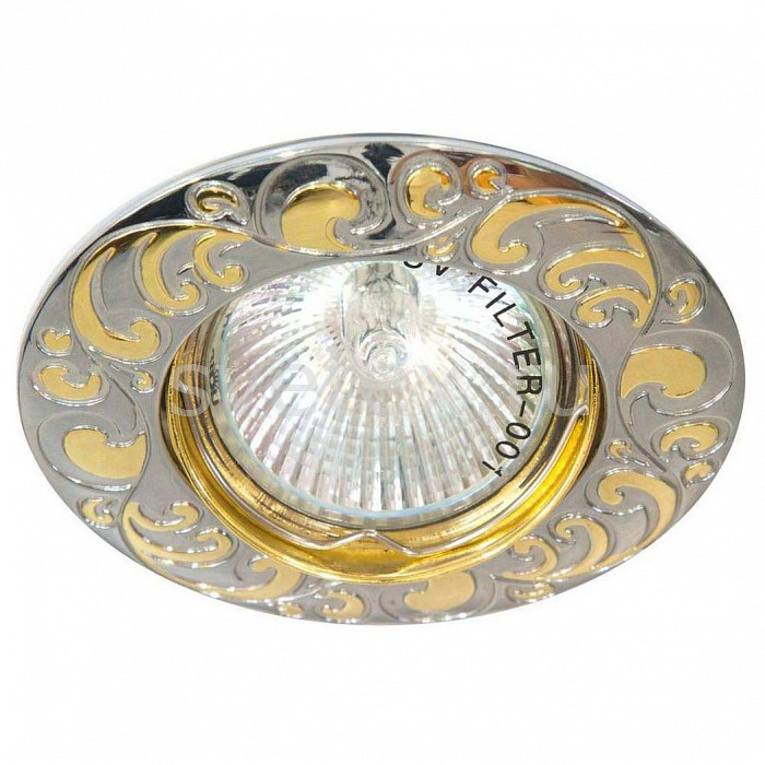 Встраиваемый светильник FeronВстраиваемые светильники<br>Артикул - FE_17799,Бренд - Feron (Китай),Коллекция - DL2005,Гарантия, месяцы - 24,Глубина, мм - 25,Диаметр, мм - 90,Размер врезного отверстия, мм - 75,Тип лампы - галогеновая ИЛИсветодиодная [LED],Общее кол-во ламп - 1,Напряжение питания лампы, В - 12,Максимальная мощность лампы, Вт - 50,Лампы в комплекте - отсутствуют,Цвет арматуры - хром с золотым рисунком,Тип поверхности арматуры - глянцевый,Материал арматуры - металл,Возможность подлючения диммера - можно, если установить галогеновую лампу,Необходимые компоненты - блок питания 12В,Компоненты, входящие в комплект - нет,Форма и тип колбы - полусферическая с рефлектором,Тип цоколя лампы - GU5.3,Класс электробезопасности - I,Напряжение питания, В - 220,Степень пылевлагозащиты, IP - 20,Диапазон рабочих температур - комнатная температура,Дополнительные параметры - поворотный светильник<br>
