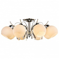 Люстра на штанге GloboБолее 6 ламп<br>Артикул - GB_54711-8,Бренд - Globo (Австрия),Коллекция - Perdita,Гарантия, месяцы - 24,Высота, мм - 240,Диаметр, мм - 600,Тип лампы - компактная люминесцентная [КЛЛ] ИЛИнакаливания ИЛИсветодиодная [LED],Общее кол-во ламп - 8,Напряжение питания лампы, В - 220,Максимальная мощность лампы, Вт - 40,Лампы в комплекте - отсутствуют,Цвет плафонов и подвесок - белый полосатый, неокрашенный,Тип поверхности плафонов - матовый, прозрачный, рельефные,Материал плафонов и подвесок - стекло, хрусталь,Цвет арматуры - хром,Тип поверхности арматуры - глянцевый,Материал арматуры - металл,Возможность подлючения диммера - можно, если установить лампу накаливания,Тип цоколя лампы - E14,Класс электробезопасности - I,Общая мощность, Вт - 320,Степень пылевлагозащиты, IP - 20,Диапазон рабочих температур - комнатная температура,Дополнительные параметры - способ крепления к потолку - на монтажной пластине<br>