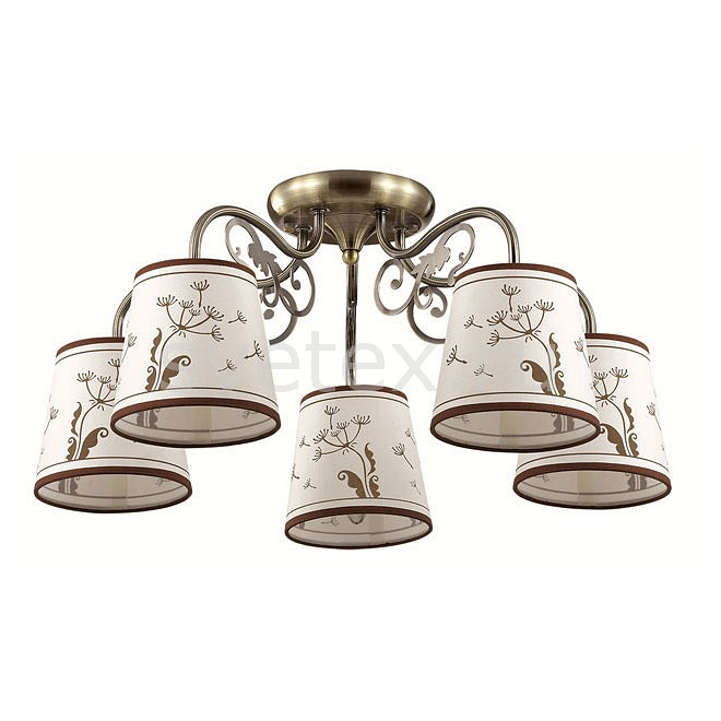 Потолочная люстра LumionСветильники<br>Артикул - LMN_3204_5C,Бренд - Lumion (Италия),Коллекция - Zinetta,Гарантия, месяцы - 24,Высота, мм - 265,Диаметр, мм - 580,Размер упаковки, мм - 170x270x220,Тип лампы - компактная люминесцентная [КЛЛ] ИЛИнакаливания ИЛИсветодиодная [LED],Общее кол-во ламп - 5,Напряжение питания лампы, В - 220,Максимальная мощность лампы, Вт - 40,Лампы в комплекте - отсутствуют,Цвет плафонов и подвесок - бежевый с принтом цвета кофе,Тип поверхности плафонов - матовый,Материал плафонов и подвесок - текстиль,Цвет арматуры - бронза,Тип поверхности арматуры - матовый, металлик,Материал арматуры - металл,Количество плафонов - 5,Возможность подлючения диммера - можно, если установить лампу накаливания,Тип цоколя лампы - E14,Класс электробезопасности - I,Общая мощность, Вт - 200,Степень пылевлагозащиты, IP - 20,Диапазон рабочих температур - комнатная температура,Дополнительные параметры - способ крепления к потолку - на монтажной пластине<br>