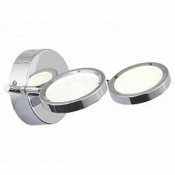Спот ST-LuceС 2 лампами<br>Артикул - SL576.101.02,Бренд - ST-Luce (Китай),Коллекция - Gruppo,Гарантия, месяцы - 24,Тип лампы - светодиодная [LED],Общее кол-во ламп - 2,Напряжение питания лампы, В - 220,Максимальная мощность лампы, Вт - 5,Лампы в комплекте - светодиодные [LED],Цвет плафонов и подвесок - белый,Тип поверхности плафонов - матовый,Материал плафонов и подвесок - стекло,Цвет арматуры - хром,Тип поверхности арматуры - глянцевый,Материал арматуры - металл,Возможность подлючения диммера - нельзя,Класс электробезопасности - I,Общая мощность, Вт - 10,Степень пылевлагозащиты, IP - 20,Диапазон рабочих температур - комнатная температура,Дополнительные параметры - поворотный светильник<br>