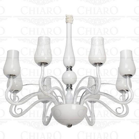 Подвесная люстра Элла 483010308Люстры<br>Артикул - CH_483010308,Бренд - Chiaro (Германия),Коллекция - Элла,Высота, мм - 1300-1900,Диаметр, мм - 830,Тип лампы - накаливания,Общее кол-во ламп - 8,Напряжение питания лампы, В - 220,Максимальная мощность лампы, Вт - 40,Цвет лампы - белый теплый,Лампы в комплекте - отсутствуют,Цвет плафонов и подвесок - белый,Тип поверхности плафонов - матовый,Материал плафонов и подвесок - стекло,Цвет арматуры - белый, хром,Тип поверхности арматуры - матовый,Материал арматуры - стекло, металл,Количество плафонов - 8,Возможность подлючения диммера - можно,Форма и тип колбы - свеча,Тип цоколя лампы - E14,Цветовая температура, K - 2400 - 2800 K,Класс электробезопасности - I,Общая мощность, Вт - 320,Степень пылевлагозащиты, IP - 20,Диапазон рабочих температур - комнатная температура<br>