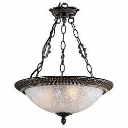 Подвесной светильник Odeon LightСветодиодные<br>Артикул - OD_2587_3,Бренд - Odeon Light (Италия),Коллекция - Maipa,Гарантия, месяцы - 24,Высота, мм - 470,Диаметр, мм - 320,Тип лампы - компактная люминесцентная [КЛЛ] ИЛИнакаливания ИЛИсветодиодная [LED],Общее кол-во ламп - 3,Напряжение питания лампы, В - 220,Максимальная мощность лампы, Вт - 60,Лампы в комплекте - отсутствуют,Цвет плафонов и подвесок - неокрашенный с рисунком,Тип поверхности плафонов - матовый,Материал плафонов и подвесок - стекло,Цвет арматуры - бронза,Тип поверхности арматуры - глянцевый, рельефный,Материал арматуры - металл,Возможность подлючения диммера - можно, если установить лампу накаливания,Тип цоколя лампы - E27,Класс электробезопасности - I,Общая мощность, Вт - 180,Степень пылевлагозащиты, IP - 20,Диапазон рабочих температур - комнатная температура,Дополнительные параметры - указана высота светильника без подвеса<br>