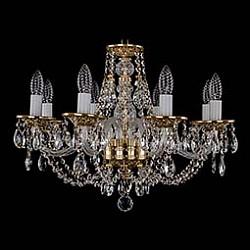 Подвесная люстра Bohemia Ivele CrystalБолее 6 ламп<br>Артикул - BI_1606_8_195_G,Бренд - Bohemia Ivele Crystal (Чехия),Коллекция - 1606,Гарантия, месяцы - 12,Высота, мм - 410,Диаметр, мм - 580,Размер упаковки, мм - 450x450x200,Тип лампы - компактная люминесцентная [КЛЛ] ИЛИнакаливания ИЛИсветодиодная [LED],Общее кол-во ламп - 8,Напряжение питания лампы, В - 220,Максимальная мощность лампы, Вт - 40,Лампы в комплекте - отсутствуют,Цвет плафонов и подвесок - неокрашенный,Тип поверхности плафонов - прозрачный,Материал плафонов и подвесок - хрусталь,Цвет арматуры - золото, неокрашенный,Тип поверхности арматуры - глянцевый, прозрачный,Материал арматуры - металл, стекло,Возможность подлючения диммера - можно, если установить лампу накаливания,Форма и тип колбы - свеча ИЛИ свеча на ветру,Тип цоколя лампы - E14,Класс электробезопасности - I,Общая мощность, Вт - 320,Степень пылевлагозащиты, IP - 20,Диапазон рабочих температур - комнатная температура,Дополнительные параметры - способ крепления светильника к потолку – на крюке<br>