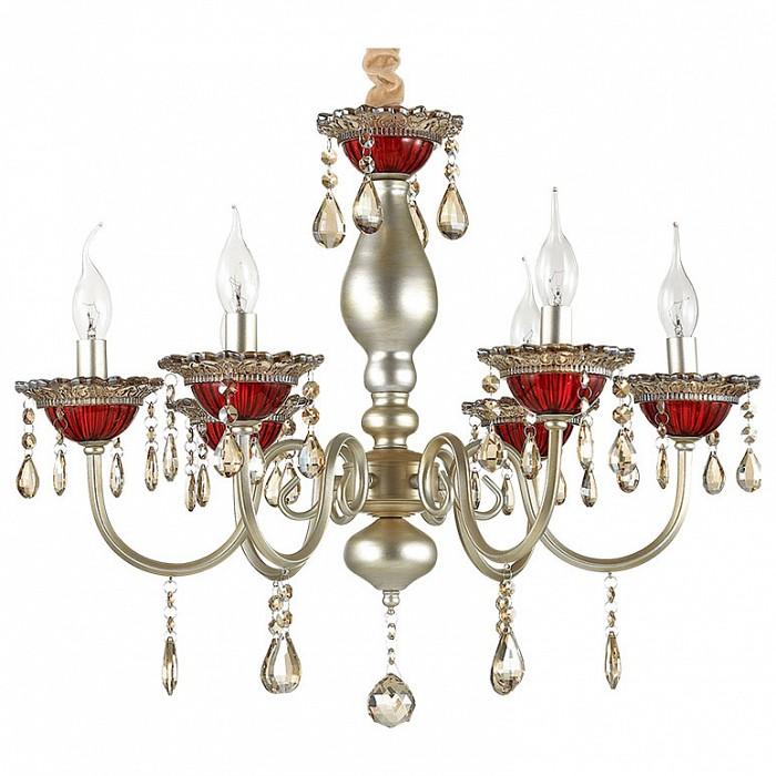 Подвесная люстра Odeon Light5 или 6 ламп<br>Артикул - OD_3394_6,Бренд - Odeon Light (Италия),Коллекция - Dezira,Гарантия, месяцы - 24,Высота, мм - 657-1224,Диаметр, мм - 627,Тип лампы - компактная люминесцентная [КЛЛ] ИЛИнакаливания ИЛИсветодиодная [LED],Общее кол-во ламп - 6,Напряжение питания лампы, В - 220,Максимальная мощность лампы, Вт - 40,Лампы в комплекте - отсутствуют,Цвет плафонов и подвесок - неокрашенный,Тип поверхности плафонов - прозрачный,Материал плафонов и подвесок - хрусталь,Цвет арматуры - красный, серебро с патиной,Тип поверхности арматуры - матовый, прозрачный,Материал арматуры - металл, стекло,Возможность подлючения диммера - можно, если установить лампу накаливания,Форма и тип колбы - свеча ИЛИ свеча на ветру,Тип цоколя лампы - E14,Класс электробезопасности - I,Общая мощность, Вт - 240,Степень пылевлагозащиты, IP - 20,Диапазон рабочих температур - комнатная температура,Дополнительные параметры - способ крепления светильника к потолку - на крюке, регулируется по высоте<br>