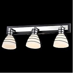 Спот EurosvetС 3 лампами<br>Артикул - EV_76514,Бренд - Eurosvet (Китай),Коллекция - Гермес,Гарантия, месяцы - 24,Тип лампы - компактная люминесцентная [КЛЛ] ИЛИнакаливания ИЛИсветодиодная [LED],Общее кол-во ламп - 3,Напряжение питания лампы, В - 220,Максимальная мощность лампы, Вт - 40,Лампы в комплекте - отсутствуют,Цвет плафонов и подвесок - белый,Тип поверхности плафонов - матовый,Материал плафонов и подвесок - стекло,Цвет арматуры - венге, хром,Тип поверхности арматуры - глянцевый, матовый,Материал арматуры - металл,Возможность подлючения диммера - можно, если установить лампу накаливания,Тип цоколя лампы - E14,Класс электробезопасности - I,Общая мощность, Вт - 120,Степень пылевлагозащиты, IP - 20,Диапазон рабочих температур - комнатная температура,Дополнительные параметры - способ крепления светильника к потолку и стене - на монтажной пластине, поворотный светильник<br>