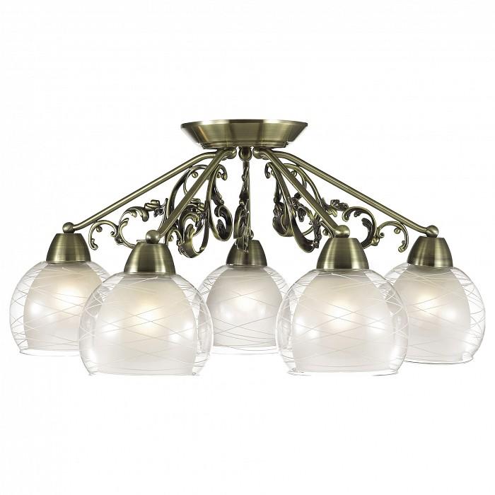 Потолочная люстра Odeon LightЛюстры<br>Артикул - OD_2944_5C,Бренд - Odeon Light (Италия),Коллекция - Balina,Гарантия, месяцы - 24,Высота, мм - 280,Диаметр, мм - 650,Тип лампы - компактная люминесцентная [КЛЛ] ИЛИнакаливания ИЛИсветодиодная [LED],Общее кол-во ламп - 5,Напряжение питания лампы, В - 220,Максимальная мощность лампы, Вт - 60,Лампы в комплекте - отсутствуют,Цвет плафонов и подвесок - белый, неокрашенный с рисунком,Тип поверхности плафонов - матовый, прозрачный,Материал плафонов и подвесок - стекло,Цвет арматуры - бронза,Тип поверхности арматуры - сатин,Материал арматуры - металл,Количество плафонов - 5,Возможность подлючения диммера - можно, если установить лампу накаливания,Тип цоколя лампы - E27,Класс электробезопасности - I,Общая мощность, Вт - 300,Степень пылевлагозащиты, IP - 20,Диапазон рабочих температур - комнатная температура,Дополнительные параметры - способ крепления светильника на потолке - на монтажной пластине<br>