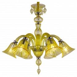 Подвесная люстра Arte Lamp5 или 6 ламп<br>Артикул - AR_A8026LM-6CC,Бренд - Arte Lamp (Италия),Коллекция - Corno,Время изготовления, дней - 1,Высота, мм - 680-1680,Диаметр, мм - 710,Тип лампы - компактная люминесцентная [КЛЛ] ИЛИнакаливания ИЛИсветодиодная [LED],Общее кол-во ламп - 6,Напряжение питания лампы, В - 220,Максимальная мощность лампы, Вт - 60,Лампы в комплекте - отсутствуют,Цвет плафонов и подвесок - янтарный,Тип поверхности плафонов - прозрачный,Материал плафонов и подвесок - стекло,Цвет арматуры - хром, янтарный,Тип поверхности арматуры - глянцевый, прозрачный,Материал арматуры - металл, стекло,Возможность подлючения диммера - можно, если установить лампу накаливания,Тип цоколя лампы - E14,Класс электробезопасности - I,Общая мощность, Вт - 360,Степень пылевлагозащиты, IP - 20,Диапазон рабочих температур - комнатная температура,Дополнительные параметры - способ крепления светильника к потолку – на монтажной пластине или крюке<br>