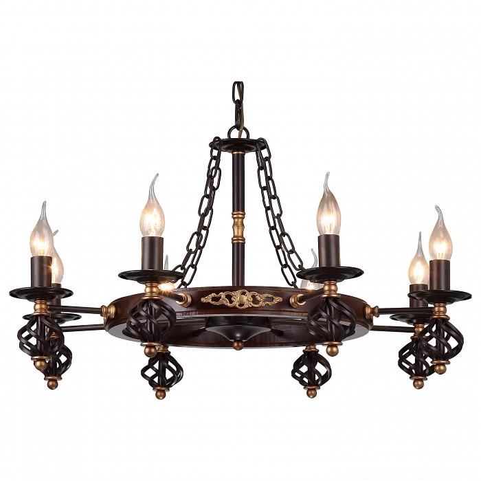 Подвесная люстра Arte LampЛюстры<br>Артикул - AR_A4550LM-8CK,Бренд - Arte Lamp (Италия),Коллекция - Cartwheel,Гарантия, месяцы - 24,Высота, мм - 410,Диаметр, мм - 730,Тип лампы - компактная люминесцентная [КЛЛ] ИЛИнакаливания ИЛИсветодиодная [LED],Общее кол-во ламп - 8,Напряжение питания лампы, В - 220,Максимальная мощность лампы, Вт - 60,Лампы в комплекте - отсутствуют,Цвет арматуры - шоколад,Тип поверхности арматуры - матовый,Материал арматуры - металл,Возможность подлючения диммера - можно, если установить лампу накаливания,Форма и тип колбы - свеча ИЛИ свеча на ветру,Тип цоколя лампы - E14,Класс электробезопасности - I,Общая мощность, Вт - 480,Степень пылевлагозащиты, IP - 20,Диапазон рабочих температур - комнатная температура,Дополнительные параметры - способ крепления светильника к потолоку - на крюке, указана высота светильника без подвеса<br>