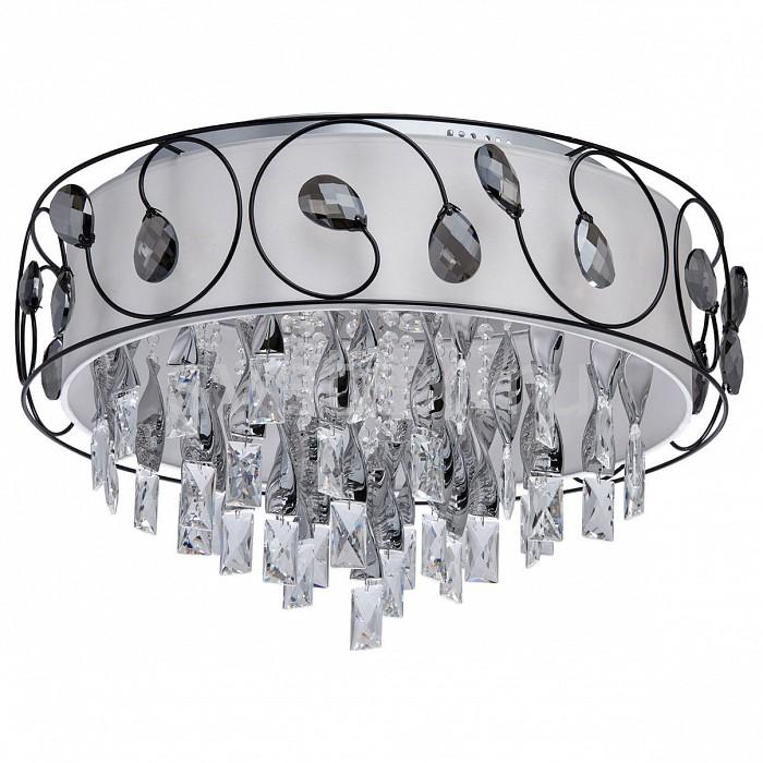 Накладной светильник MW-LightКруглые<br>Артикул - MW_465014118,Бренд - MW-Light (Германия),Коллекция - Жаклин 10,Гарантия, месяцы - 24,Время изготовления, дней - 1,Высота, мм - 350,Диаметр, мм - 600,Тип лампы - светодиодная [LED],Общее кол-во ламп - 18,Напряжение питания лампы, В - 220,Максимальная мощность лампы, Вт - 3,Цвет лампы - белый - белый холодный,Лампы в комплекте - светодиодные [LED],Цвет плафонов и подвесок - белый, дымчатый,Тип поверхности плафонов - матовый, прозрачный,Материал плафонов и подвесок - текстиль, хрусталь,Цвет арматуры - хром,Тип поверхности арматуры - глянцевый,Материал арматуры - металл,Количество плафонов - 1,Наличие выключателя, диммера или пульта ДУ - пульт ДУ,Цветовая температура, K - 4200-4500 K,Световой поток, лм - 5940,Экономичнее лампы накаливания - в 6.7 раза,Светоотдача, лм/Вт - 110,Класс электробезопасности - I,Общая мощность, Вт - 54,Степень пылевлагозащиты, IP - 20,Диапазон рабочих температур - комнатная температура,Дополнительные параметры - способ крепления светильника к потолку – на монтажной пластине<br>
