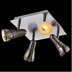 Спот EurosvetС 4 лампами<br>Артикул - EV_76525,Бренд - Eurosvet (Китай),Коллекция - Лира,Гарантия, месяцы - 24,Тип лампы - компактная люминесцентная [КЛЛ] ИЛИнакаливания ИЛИсветодиодная [LED],Общее кол-во ламп - 4,Напряжение питания лампы, В - 220,Максимальная мощность лампы, Вт - 40,Лампы в комплекте - отсутствуют,Цвет плафонов и подвесок - никель,Тип поверхности плафонов - матовый,Материал плафонов и подвесок - металл,Цвет арматуры - никель,Тип поверхности арматуры - матовый,Материал арматуры - металл,Возможность подлючения диммера - можно, если установить лампу накаливания,Тип цоколя лампы - E14,Класс электробезопасности - I,Общая мощность, Вт - 160,Степень пылевлагозащиты, IP - 20,Диапазон рабочих температур - комнатная температура,Дополнительные параметры - способ крепления светильника к потолку и стене - на монтажной пластине, поворотный светильник<br>