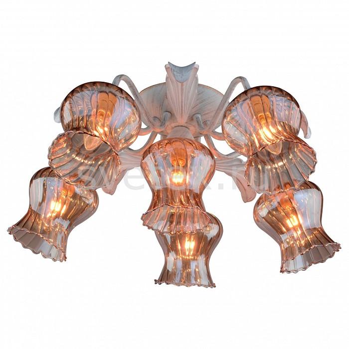 Потолочная люстра Arte LampЛюстры<br>Артикул - AR_A6098PL-6WG,Бренд - Arte Lamp (Италия),Коллекция - Chiara,Гарантия, месяцы - 24,Высота, мм - 210,Диаметр, мм - 600,Тип лампы - компактная люминесцентная [КЛЛ] ИЛИнакаливания ИЛИсветодиодная [LED],Общее кол-во ламп - 6,Напряжение питания лампы, В - 220,Максимальная мощность лампы, Вт - 40,Лампы в комплекте - отсутствуют,Цвет плафонов и подвесок - коричневый полосатый,Тип поверхности плафонов - прозрачный, рельефный,Материал плафонов и подвесок - стекло,Цвет арматуры - белый с золотой патиной,Тип поверхности арматуры - матовый,Материал арматуры - металл,Количество плафонов - 6,Возможность подлючения диммера - можно, если установить лампу накаливания,Тип цоколя лампы - E14,Класс электробезопасности - I,Общая мощность, Вт - 240,Степень пылевлагозащиты, IP - 20,Диапазон рабочих температур - комнатная температура,Дополнительные параметры - способ крепления светильника к потолку - на монтажной пластине<br>