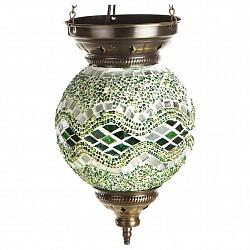 Подвесной светильник Kink LightСветодиодные<br>Артикул - KL_0115.07,Бренд - Kink Light (Китай),Коллекция - Марокко,Гарантия, месяцы - 12,Высота, мм - 600,Диаметр, мм - 150,Тип лампы - компактная люминесцентная [КЛЛ] ИЛИнакаливания ИЛИсветодиодная [LED],Общее кол-во ламп - 1,Напряжение питания лампы, В - 220,Максимальная мощность лампы, Вт - 40,Лампы в комплекте - отсутствуют,Цвет плафонов и подвесок - зеленый с рисунокм,Тип поверхности плафонов - глянцевый, рельефный,Материал плафонов и подвесок - стекло,Цвет арматуры - бронза,Тип поверхности арматуры - глянцевый,Материал арматуры - металл,Возможность подлючения диммера - можно, если установить лампу накаливания,Тип цоколя лампы - E14,Класс электробезопасности - I,Степень пылевлагозащиты, IP - 20,Диапазон рабочих температур - комнатная температура,Дополнительные параметры - техника мозаика<br>
