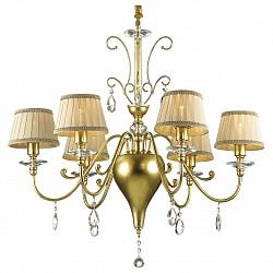 Подвесная люстра Odeon LightТекстильные плафоны<br>Артикул - OD_2937_6,Бренд - Odeon Light (Италия),Коллекция - Alpes,Гарантия, месяцы - 24,Высота, мм - 700,Диаметр, мм - 730,Тип лампы - компактная люминесцентная [КЛЛ] ИЛИнакаливания ИЛИсветодиодная [LED],Общее кол-во ламп - 6,Напряжение питания лампы, В - 220,Максимальная мощность лампы, Вт - 40,Лампы в комплекте - отсутствуют,Цвет плафонов и подвесок - бежевый с каймой, неокрашенный,Тип поверхности плафонов - матовый, прозрачный,Материал плафонов и подвесок - текстиль, хрусталь,Цвет арматуры - золото,Тип поверхности арматуры - глянцевый,Материал арматуры - металл,Возможность подлючения диммера - можно, если установить лампу накаливания,Тип цоколя лампы - E14,Класс электробезопасности - I,Общая мощность, Вт - 240,Степень пылевлагозащиты, IP - 20,Диапазон рабочих температур - комнатная температура,Дополнительные параметры - способ крепления светильника на потолке - на крюке, регулируется по высоте<br>