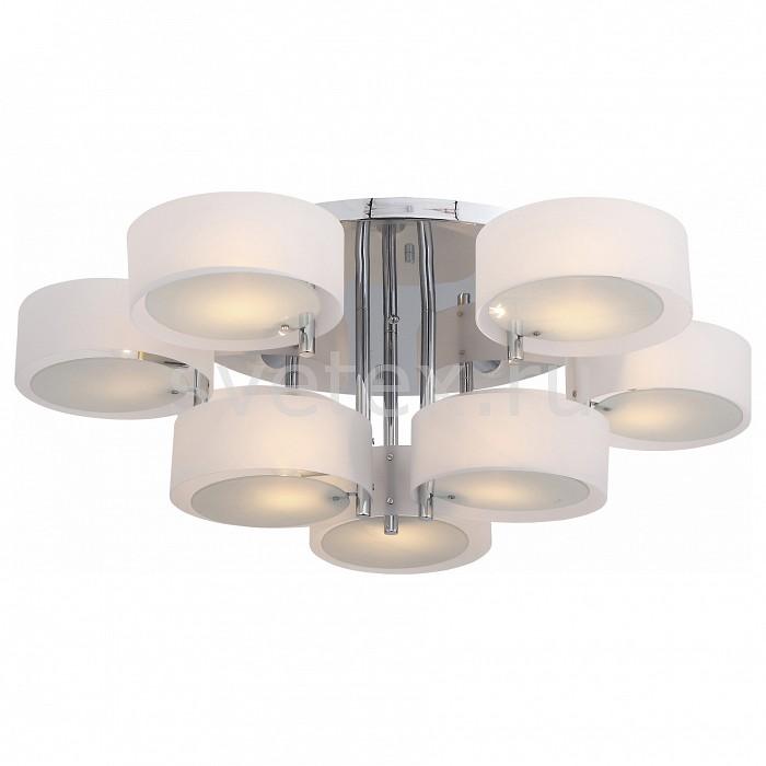 Потолочная люстра ST-LuceПолимерные плафоны<br>Артикул - SL483.502.09,Бренд - ST-Luce (Китай),Коллекция - Foresta,Гарантия, месяцы - 24,Высота, мм - 300,Диаметр, мм - 1000,Размер упаковки, мм - 760x760x140,Тип лампы - компактная люминесцентная [КЛЛ] ИЛИнакаливания ИЛИсветодиодная [LED],Общее кол-во ламп - 9,Напряжение питания лампы, В - 220,Максимальная мощность лампы, Вт - 60,Лампы в комплекте - отсутствуют,Цвет плафонов и подвесок - белый, неокрашенный,Тип поверхности плафонов - матовый, прозрачный,Материал плафонов и подвесок - акрил, стекло,Цвет арматуры - хром,Тип поверхности арматуры - глянцевый,Материал арматуры - металл,Количество плафонов - 9,Возможность подлючения диммера - можно, если установить лампу накаливания,Тип цоколя лампы - E27,Класс электробезопасности - I,Общая мощность, Вт - 540,Степень пылевлагозащиты, IP - 20,Диапазон рабочих температур - комнатная температура,Дополнительные параметры - способ крепления светильника к потолку - на монтажной пластине<br>