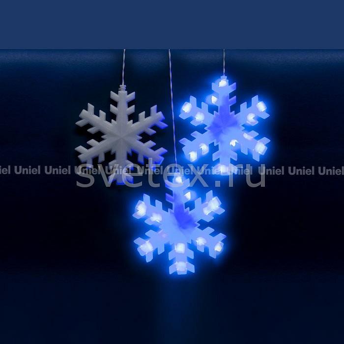 Занавес световой (2.7x3 м) UnielЗанавесы световые<br>Артикул - UL_11128,Бренд - Uniel (Китай),Коллекция - Снежинки,Гарантия, месяцы - 24,Ширина, мм - 2700,Высота, мм - 300,Ширина - 2, 7 м,Тип лампы - светодиодные [LED],Общее кол-во ламп - 120,Максимальная мощность лампы, Вт - 0.037,Цвет лампы - синий,Лампы в комплекте - светодиодные [LED],Ресурс лампы - 30 тыс. часов,Цвет провода - белый,Материал провода - полимер,Класс электробезопасности - I,Напряжение питания, В - 220,Общая мощность, Вт - 4,Степень пылевлагозащиты, IP - 44,Диапазон рабочих температур - от -40^C до +50^C<br>