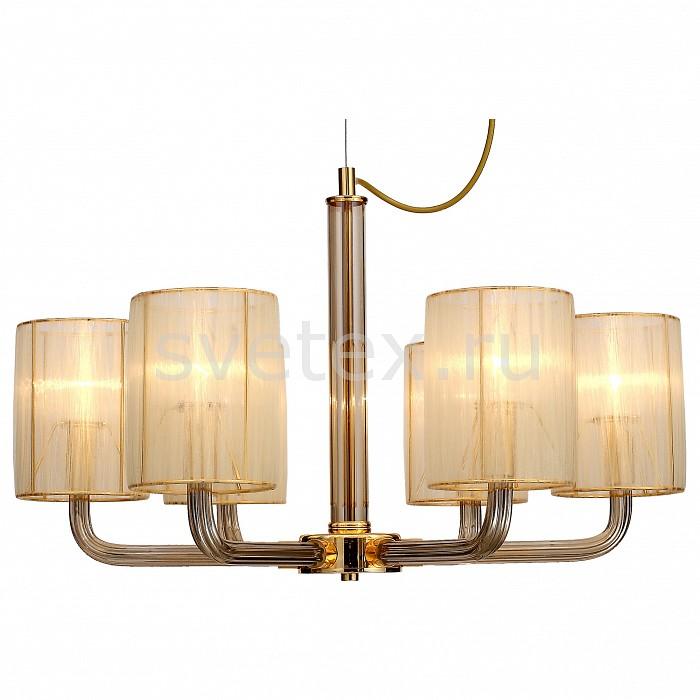 Подвесная люстра FavouriteСветильники<br>Артикул - FV_1860-6P,Бренд - Favourite (Германия),Коллекция - Birra,Гарантия, месяцы - 24,Высота, мм - 410-1410,Диаметр, мм - 640,Тип лампы - компактная люминесцентная [КЛЛ] ИЛИнакаливания ИЛИсветодиодная [LED],Общее кол-во ламп - 6,Напряжение питания лампы, В - 220,Максимальная мощность лампы, Вт - 40,Лампы в комплекте - отсутствуют,Цвет плафонов и подвесок - янтарный,Тип поверхности плафонов - матовый,Материал плафонов и подвесок - текстиль,Цвет арматуры - золото, янтарный,Тип поверхности арматуры - глянцевый, прозрачный,Материал арматуры - металл, стекло,Количество плафонов - 6,Возможность подлючения диммера - можно, если установить лампу накаливания,Тип цоколя лампы - E14,Класс электробезопасности - I,Общая мощность, Вт - 240,Степень пылевлагозащиты, IP - 20,Диапазон рабочих температур - комнатная температура,Дополнительные параметры - способ крепления светильника к потолку - на крюке, регулируется по высоте<br>