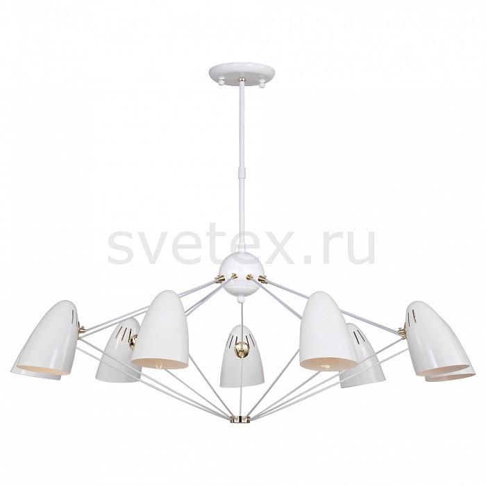 Люстра на штанге FavouriteСветильники<br>Артикул - FV_1758-9P,Бренд - Favourite (Германия),Коллекция - Humpen,Гарантия, месяцы - 24,Высота, мм - 600-800,Диаметр, мм - 1100,Тип лампы - компактная люминесцентная [КЛЛ] ИЛИнакаливания ИЛИсветодиодная [LED],Общее кол-во ламп - 9,Напряжение питания лампы, В - 220,Максимальная мощность лампы, Вт - 40,Лампы в комплекте - отсутствуют,Цвет плафонов и подвесок - белый,Тип поверхности плафонов - глянцевый,Материал плафонов и подвесок - металл,Цвет арматуры - белый, золото,Тип поверхности арматуры - глянцевый,Материал арматуры - металл,Количество плафонов - 9,Возможность подлючения диммера - можно, если установить лампу накаливания,Тип цоколя лампы - E14,Класс электробезопасности - I,Общая мощность, Вт - 360,Степень пылевлагозащиты, IP - 20,Диапазон рабочих температур - комнатная температура,Дополнительные параметры - регулируется по высоте,  способ крепления светильника к потолку – на монтажной пластине<br>