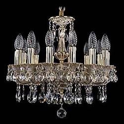 Подвесная люстра Bohemia Ivele CrystalБолее 6 ламп<br>Артикул - BI_1707_14_125_A_GW,Бренд - Bohemia Ivele Crystal (Чехия),Коллекция - 1707,Гарантия, месяцы - 24,Высота, мм - 500,Диаметр, мм - 480,Размер упаковки, мм - 450x450x200,Тип лампы - компактная люминесцентная [КЛЛ] ИЛИнакаливания ИЛИсветодиодная [LED],Общее кол-во ламп - 14,Напряжение питания лампы, В - 220,Максимальная мощность лампы, Вт - 40,Лампы в комплекте - отсутствуют,Цвет плафонов и подвесок - неокрашенный,Тип поверхности плафонов - прозрачный,Материал плафонов и подвесок - хрусталь,Цвет арматуры - золото беленое,Тип поверхности арматуры - глянцевый, рельефный,Материал арматуры - латунь,Возможность подлючения диммера - можно, если установить лампу накаливания,Форма и тип колбы - свеча ИЛИ свеча на ветру,Тип цоколя лампы - E14,Класс электробезопасности - I,Общая мощность, Вт - 560,Степень пылевлагозащиты, IP - 20,Диапазон рабочих температур - комнатная температура,Дополнительные параметры - способ крепления светильника к потолку - на крюке, указана высота светильника без подвеса<br>