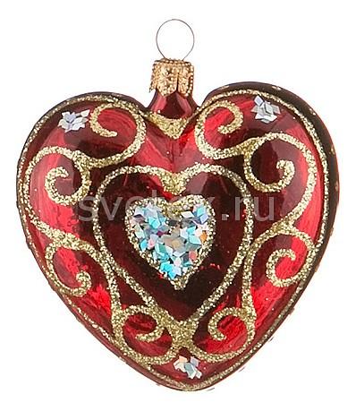 Елочная игрушка АРТИ-МЕлочные игрушки<br>Артикул - art_860-357,Бренд - АРТИ-М (Россия),Коллекция - Сердечко узорное,Высота, мм - 80,Цвет - золотой, красный,Материал - стекло<br>