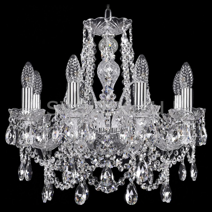 Подвесная люстра Bohemia Ivele CrystalБолее 6 ламп<br>Артикул - BI_1411_8_160_Ni,Бренд - Bohemia Ivele Crystal (Чехия),Коллекция - 1411,Гарантия, месяцы - 24,Высота, мм - 420,Диаметр, мм - 480,Размер упаковки, мм - 510x510x200,Тип лампы - компактная люминесцентная [КЛЛ] ИЛИнакаливания ИЛИсветодиодная [LED],Общее кол-во ламп - 8,Напряжение питания лампы, В - 220,Максимальная мощность лампы, Вт - 40,Лампы в комплекте - отсутствуют,Цвет плафонов и подвесок - неокрашенный,Тип поверхности плафонов - прозрачный,Материал плафонов и подвесок - хрусталь,Цвет арматуры - никель, неокрашенный,Тип поверхности арматуры - матовый, прозрачный,Материал арматуры - металл, стекло,Возможность подлючения диммера - можно, если установить лампу накаливания,Форма и тип колбы - свеча ИЛИ свеча на ветру,Тип цоколя лампы - E14,Класс электробезопасности - I,Общая мощность, Вт - 320,Степень пылевлагозащиты, IP - 20,Диапазон рабочих температур - комнатная температура,Дополнительные параметры - способ крепления светильника к потолку - на крюке, указана высота светильники без подвеса<br>