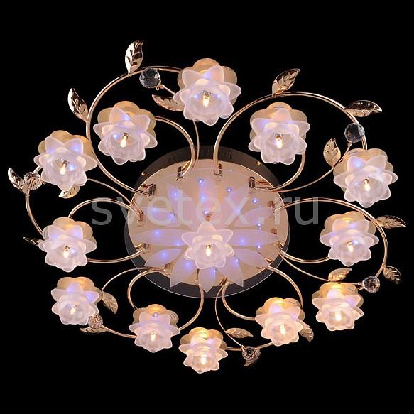 Потолочная люстра EurosvetПолимерные плафоны<br>Артикул - EV_5231,Бренд - Eurosvet (Китай),Коллекция - 4898,Гарантия, месяцы - 24,Время изготовления, дней - 1,Высота, мм - 160,Диаметр, мм - 850,Тип лампы - галогеновая,Общее кол-во ламп - 13,Напряжение питания лампы, В - 12,Максимальная мощность лампы, Вт - 20,Цвет лампы - белый теплый,Лампы в комплекте - галогеновые G4,Цвет плафонов и подвесок - белый, неокрашенный,Тип поверхности плафонов - матовый,Материал плафонов и подвесок - полимер, хрусталь,Цвет арматуры - золото,Тип поверхности арматуры - глянцевый,Материал арматуры - металл,Количество плафонов - 13,Наличие выключателя, диммера или пульта ДУ - пульт ДУ,Возможность подлючения диммера - нельзя,Компоненты, входящие в комплект - трансформатор 12В,Форма и тип колбы - пальчиковая,Тип цоколя лампы - G4,Цветовая температура, K - 2800 - 3200 K,Напряжение питания, В - 220,Общая мощность, Вт - 260,Степень пылевлагозащиты, IP - 20,Диапазон рабочих температур - комнатная температура,Дополнительные параметры - светильник декорирован 57 RGB светодиодами общей мощностью 7.41 Вт<br>