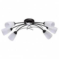 Потолочная люстра De Markt5 или 6 ламп<br>Артикул - MW_242016706,Бренд - De Markt (Германия),Коллекция - Восторг 2,Гарантия, месяцы - 24,Высота, мм - 220,Тип лампы - компактная люминесцентная [КЛЛ] ИЛИнакаливания ИЛИсветодиодная [LED],Общее кол-во ламп - 6,Напряжение питания лампы, В - 220,Максимальная мощность лампы, Вт - 60,Лампы в комплекте - отсутствуют,Цвет плафонов и подвесок - белый с рисунком,Тип поверхности плафонов - матовый,Материал плафонов и подвесок - стекло,Цвет арматуры - коричневый, серебро,Тип поверхности арматуры - матовый,Материал арматуры - металл,Возможность подлючения диммера - можно, если установить лампу накаливания,Тип цоколя лампы - E14,Класс электробезопасности - I,Общая мощность, Вт - 360,Степень пылевлагозащиты, IP - 20,Диапазон рабочих температур - комнатная температура,Дополнительные параметры - способ крепления светильника к потолку – на монтажной пластине<br>