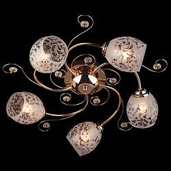 Потолочная люстра Eurosvet5 или 6 ламп<br>Артикул - EV_6841,Бренд - Eurosvet (Китай),Коллекция - 9677,Гарантия, месяцы - 24,Высота, мм - 220,Диаметр, мм - 550,Тип лампы - компактная люминесцентная [КЛЛ] ИЛИнакаливания ИЛИсветодиодная [LED],Общее кол-во ламп - 5,Напряжение питания лампы, В - 220,Максимальная мощность лампы, Вт - 60,Лампы в комплекте - отсутствуют,Цвет плафонов и подвесок - белый с рисунком, золото, неокрашенный,Тип поверхности плафонов - матовый,Материал плафонов и подвесок - металл, стекло,Цвет арматуры - золото,Тип поверхности арматуры - глянцевый,Материал арматуры - металл,Тип цоколя лампы - E27,Класс электробезопасности - I,Общая мощность, Вт - 300,Степень пылевлагозащиты, IP - 20,Диапазон рабочих температур - комнатная температура<br>