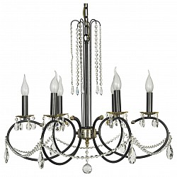 Подвесная люстра Arti Lampadari5 или 6 ламп<br>Артикул - AL_Casabona_E_1.1.6.501_B,Бренд - Arti Lampadari (Италия),Коллекция - Casabona,Гарантия, месяцы - 24,Высота, мм - 640,Диаметр, мм - 700,Тип лампы - компактная люминесцентная [КЛЛ] ИЛИнакаливания ИЛИсветодиодная [LED],Общее кол-во ламп - 6,Напряжение питания лампы, В - 220,Максимальная мощность лампы, Вт - 40,Лампы в комплекте - отсутствуют,Цвет плафонов и подвесок - неокрашенный,Тип поверхности плафонов - прозрачный,Материал плафонов и подвесок - хрусталь,Цвет арматуры - черный,Тип поверхности арматуры - матовый,Материал арматуры - металл,Возможность подлючения диммера - можно, если установить лампу накаливания,Форма и тип колбы - свеча ИЛИ свеча на ветру,Тип цоколя лампы - E14,Класс электробезопасности - I,Общая мощность, Вт - 240,Степень пылевлагозащиты, IP - 20,Диапазон рабочих температур - комнатная температура,Дополнительные параметры - способ крепления светильника к потолку - на крюке, указана высота светильника без подвеса<br>