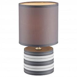 Настольная лампа GloboС абажуром<br>Артикул - GB_21660,Бренд - Globo (Австрия),Коллекция - Laurie,Гарантия, месяцы - 24,Высота, мм - 260,Диаметр, мм - 140,Размер упаковки, мм - 150x150x165,Тип лампы - компактная люминесцентная [КЛЛ] ИЛИнакаливания ИЛИсветодиодная [LED],Общее кол-во ламп - 1,Напряжение питания лампы, В - 220,Максимальная мощность лампы, Вт - 40,Лампы в комплекте - отсутствуют,Цвет плафонов и подвесок - серый,Тип поверхности плафонов - матовый,Материал плафонов и подвесок - текстиль,Цвет арматуры - разноцветный полосатый: белый, серый,Тип поверхности арматуры - матовый,Материал арматуры - керамика, металл, полимер,Тип цоколя лампы - E14,Класс электробезопасности - II,Степень пылевлагозащиты, IP - 20,Диапазон рабочих температур - комнатная температура<br>