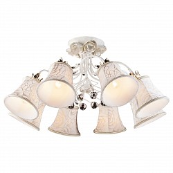 Люстра на штанге Arte LampТекстильные плафоны<br>Артикул - AR_A2819PL-8WG,Бренд - Arte Lamp (Италия),Коллекция - Bellis,Гарантия, месяцы - 24,Высота, мм - 720,Диаметр, мм - 360,Тип лампы - компактная люминесцентная [КЛЛ] ИЛИнакаливания ИЛИсветодиодная [LED],Общее кол-во ламп - 8,Напряжение питания лампы, В - 220,Максимальная мощность лампы, Вт - 60,Лампы в комплекте - отсутствуют,Цвет плафонов и подвесок - белый с рисунком, неокрашенный,Тип поверхности плафонов - матовый, прозрачный,Материал плафонов и подвесок - текстиль, хрусталь,Цвет арматуры - белый, золото,Тип поверхности арматуры - матовый,Материал арматуры - металл,Возможность подлючения диммера - можно, если установить лампу накаливания,Тип цоколя лампы - E14,Класс электробезопасности - I,Общая мощность, Вт - 480,Степень пылевлагозащиты, IP - 20,Диапазон рабочих температур - комнатная температура<br>