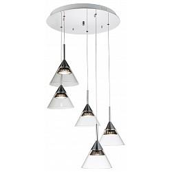 Подвесной светильник ST-LuceСветодиодные<br>Артикул - SL930.113.05,Бренд - ST-Luce (Китай),Коллекция - SL930,Гарантия, месяцы - 24,Время изготовления, дней - 1,Высота, мм - 1300,Диаметр, мм - 540,Размер упаковки, мм - 550х550х280,Тип лампы - светодиодная [LED],Общее кол-во ламп - 5,Напряжение питания лампы, В - 220,Максимальная мощность лампы, Вт - 7.2,Лампы в комплекте - светодиодные [LED],Цвет плафонов и подвесок - неокрашенный,Тип поверхности плафонов - прозрачный,Материал плафонов и подвесок - стекло,Цвет арматуры - хром,Тип поверхности арматуры - глянцевый,Материал арматуры - металл,Возможность подлючения диммера - нельзя,Класс электробезопасности - I,Общая мощность, Вт - 36,Степень пылевлагозащиты, IP - 20,Диапазон рабочих температур - комнатная температура,Дополнительные параметры - регулируется по высоте,  способ крепления светильника к потолку – на крюке<br>