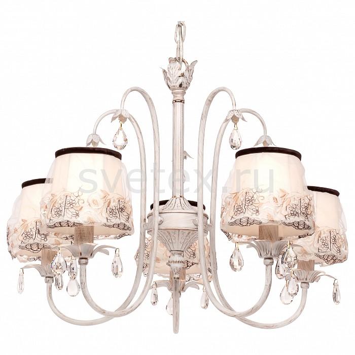 Подвесная люстра SilverLightСветильники<br>Артикул - SL_718.51.5,Бренд - SilverLight (Франция),Коллекция - Laura,Гарантия, месяцы - 24,Высота, мм - 500,Диаметр, мм - 600,Тип лампы - компактная люминесцентная [КЛЛ] ИЛИнакаливания ИЛИсветодиодная [LED],Общее кол-во ламп - 5,Напряжение питания лампы, В - 220,Максимальная мощность лампы, Вт - 60,Лампы в комплекте - отсутствуют,Цвет плафонов и подвесок - бежевый с рисунком, неокрашенный,Тип поверхности плафонов - матовый, прозрачный,Материал плафонов и подвесок - текстиль, хрусталь,Цвет арматуры - белый с золотой патиной,Тип поверхности арматуры - матовый,Материал арматуры - металл,Количество плафонов - 5,Возможность подлючения диммера - можно, если установить лампу накаливания,Тип цоколя лампы - E14,Класс электробезопасности - I,Общая мощность, Вт - 300,Степень пылевлагозащиты, IP - 20,Диапазон рабочих температур - комнатная температура,Дополнительные параметры - способ крепления светильника на потолке - на крюке, регулируется по высоте<br>