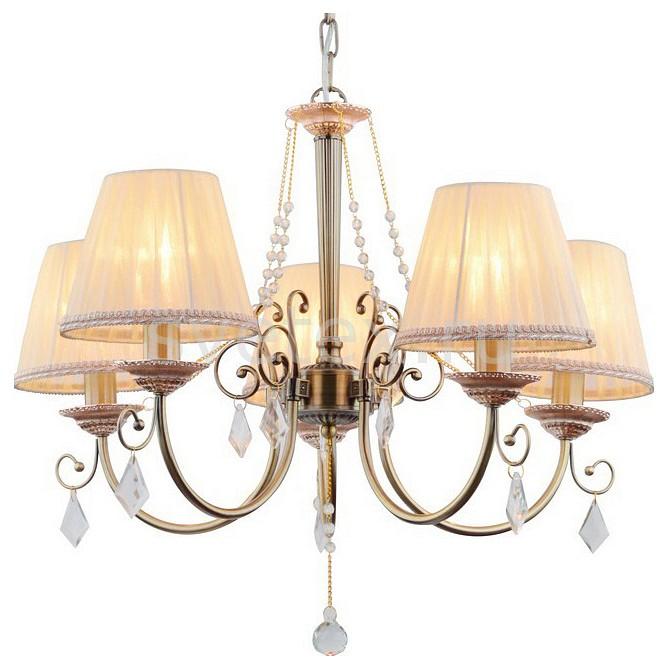 Подвесная люстра Arte LampСветильники<br>Артикул - AR_A6021LM-5AB,Бренд - Arte Lamp (Италия),Коллекция - Vivido,Гарантия, месяцы - 24,Высота, мм - 440,Диаметр, мм - 600,Тип лампы - компактная люминесцентная [КЛЛ] ИЛИнакаливания ИЛИсветодиодная [LED],Общее кол-во ламп - 5,Напряжение питания лампы, В - 220,Максимальная мощность лампы, Вт - 40,Лампы в комплекте - отсутствуют,Цвет плафонов и подвесок - белый с каймой, неокрашенный,Тип поверхности плафонов - матовый, прозрачный,Материал плафонов и подвесок - текстиль, хрусталь,Цвет арматуры - бронза античная,Тип поверхности арматуры - матовый,Материал арматуры - металл,Количество плафонов - 5,Возможность подлючения диммера - можно, если установить лампу накаливания,Тип цоколя лампы - E14,Класс электробезопасности - I,Общая мощность, Вт - 200,Степень пылевлагозащиты, IP - 20,Диапазон рабочих температур - комнатная температура,Дополнительные параметры - способ крепления светильника к потолку - на крюке, регулируется по высоте<br>