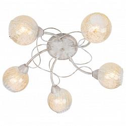Потолочная люстра Arte Lamp5 или 6 ламп<br>Артикул - AR_A6347PL-5WG,Бренд - Arte Lamp (Италия),Коллекция - Gemma,Гарантия, месяцы - 24,Высота, мм - 170,Диаметр, мм - 620,Размер упаковки, мм - 440x390x170,Тип лампы - компактная люминесцентная [КЛЛ] ИЛИнакаливания ИЛИсветодиодная [LED],Общее кол-во ламп - 5,Напряжение питания лампы, В - 220,Максимальная мощность лампы, Вт - 40,Лампы в комплекте - отсутствуют,Цвет плафонов и подвесок - неокрашенный с золотым рисунком,Тип поверхности плафонов - прозрачный, рельефный,Материал плафонов и подвесок - стекло,Цвет арматуры - белый с золотом,Тип поверхности арматуры - матовый,Материал арматуры - металл,Возможность подлючения диммера - можно, если установить лампу накаливания,Тип цоколя лампы - E14,Класс электробезопасности - I,Общая мощность, Вт - 200,Степень пылевлагозащиты, IP - 20,Диапазон рабочих температур - комнатная температура,Дополнительные параметры - способ крепления светильника к потолку – на монтажной пластине<br>