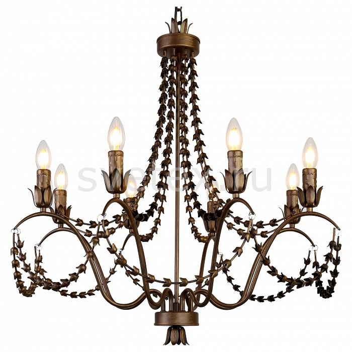 Подвесная люстра FavouriteЛюстры<br>Артикул - FV_1889-8P,Бренд - Favourite (Германия),Коллекция - Girlande,Гарантия, месяцы - 24,Высота, мм - 780-1780,Диаметр, мм - 730,Тип лампы - компактная люминесцентная [КЛЛ] ИЛИнакаливания ИЛИсветодиодная [LED],Общее кол-во ламп - 8,Напряжение питания лампы, В - 220,Максимальная мощность лампы, Вт - 40,Лампы в комплекте - отсутствуют,Цвет арматуры - коричневый с золотой патиной,Тип поверхности арматуры - глянцевый,Материал арматуры - металл,Возможность подлючения диммера - можно, если установить лампу накаливания,Тип цоколя лампы - E14,Класс электробезопасности - I,Общая мощность, Вт - 320,Степень пылевлагозащиты, IP - 20,Диапазон рабочих температур - комнатная температура,Дополнительные параметры - способ крепления светильника к потолку - на крюке, регулируется по высоте<br>