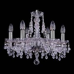 Подвесная люстра Bohemia Ivele Crystal5 или 6 ламп<br>Артикул - BI_1410_6_160_Ni_V0300,Бренд - Bohemia Ivele Crystal (Чехия),Коллекция - 1410,Гарантия, месяцы - 24,Высота, мм - 390,Диаметр, мм - 480,Размер упаковки, мм - 450x450x200,Тип лампы - компактная люминесцентная [КЛЛ] ИЛИнакаливания ИЛИсветодиодная [LED],Общее кол-во ламп - 6,Напряжение питания лампы, В - 220,Максимальная мощность лампы, Вт - 40,Лампы в комплекте - отсутствуют,Цвет плафонов и подвесок - белый, неокрашенный,Тип поверхности плафонов - матовый, прозрачный,Материал плафонов и подвесок - хрусталь,Цвет арматуры - неокрашенный, никель,Тип поверхности арматуры - глянцевый, прозрачный, рельефный,Материал арматуры - металл, стекло,Возможность подлючения диммера - можно, если установить лампу накаливания,Форма и тип колбы - свеча ИЛИ свеча на ветру,Тип цоколя лампы - E14,Класс электробезопасности - I,Общая мощность, Вт - 240,Степень пылевлагозащиты, IP - 20,Диапазон рабочих температур - комнатная температура,Дополнительные параметры - способ крепления светильника к потолку - на крюке, указана высота светильника без подвеса<br>