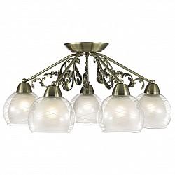Потолочная люстра Odeon Light5 или 6 ламп<br>Артикул - OD_2944_5C,Бренд - Odeon Light (Италия),Коллекция - Balina,Гарантия, месяцы - 24,Высота, мм - 280,Диаметр, мм - 650,Тип лампы - компактная люминесцентная [КЛЛ] ИЛИнакаливания ИЛИсветодиодная [LED],Общее кол-во ламп - 5,Напряжение питания лампы, В - 220,Максимальная мощность лампы, Вт - 60,Лампы в комплекте - отсутствуют,Цвет плафонов и подвесок - белый, неокрашенный с рисунком,Тип поверхности плафонов - матовый, прозрачный,Материал плафонов и подвесок - стекло,Цвет арматуры - бронза,Тип поверхности арматуры - сатин,Материал арматуры - металл,Возможность подлючения диммера - можно, если установить лампу накаливания,Тип цоколя лампы - E27,Класс электробезопасности - I,Общая мощность, Вт - 300,Степень пылевлагозащиты, IP - 20,Диапазон рабочих температур - комнатная температура,Дополнительные параметры - способ крепления светильника на потолке - на монтажной пластине<br>