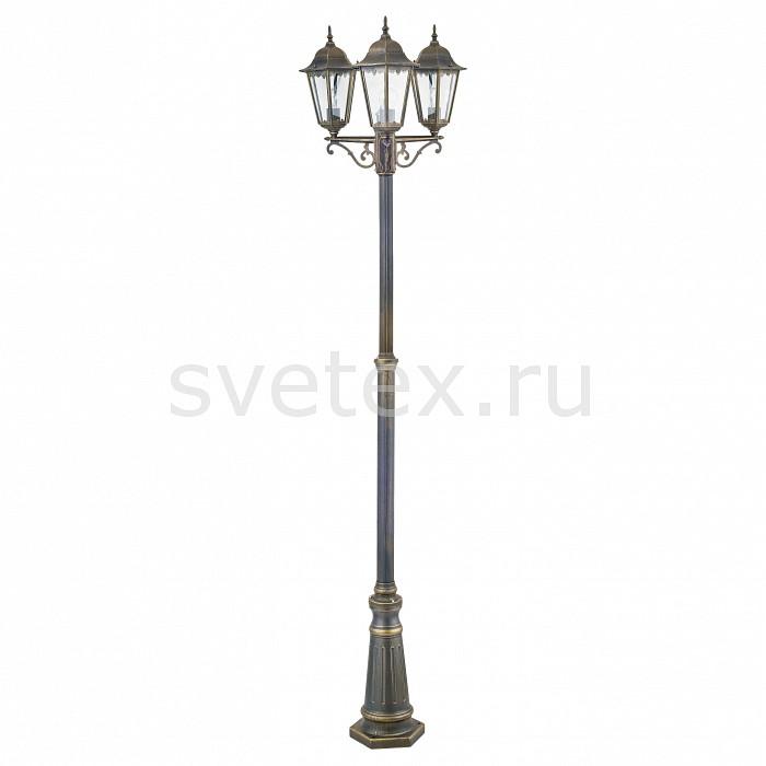 Фонарный столб FavouriteСветильники<br>Артикул - FV_1808-3F,Бренд - Favourite (Германия),Коллекция - London,Гарантия, месяцы - 24,Время изготовления, дней - 1,Высота, мм - 2250,Диаметр, мм - 600,Тип лампы - компактная люминесцентная [КЛЛ] ИЛИнакаливания ИЛИсветодиодная [LED],Общее кол-во ламп - 3,Напряжение питания лампы, В - 220,Максимальная мощность лампы, Вт - 100,Лампы в комплекте - отсутствуют,Цвет плафонов и подвесок - неокрашенный,Тип поверхности плафонов - прозрачный,Материал плафонов и подвесок - стекло,Цвет арматуры - черный с золотой патиной,Тип поверхности арматуры - матовый,Материал арматуры - металл,Количество плафонов - 3,Тип цоколя лампы - E27,Класс электробезопасности - I,Общая мощность, Вт - 300,Степень пылевлагозащиты, IP - 44,Диапазон рабочих температур - от -40^С до +40^C<br>